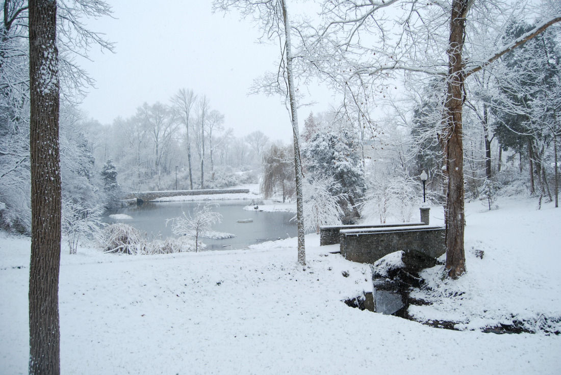 A stunning winter wonderland landscape with a pond and cobblestone bridges.