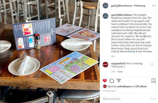 A screenshot of an Instagram post by Gaslight Brewhouse with a photo of kid's menu and plates